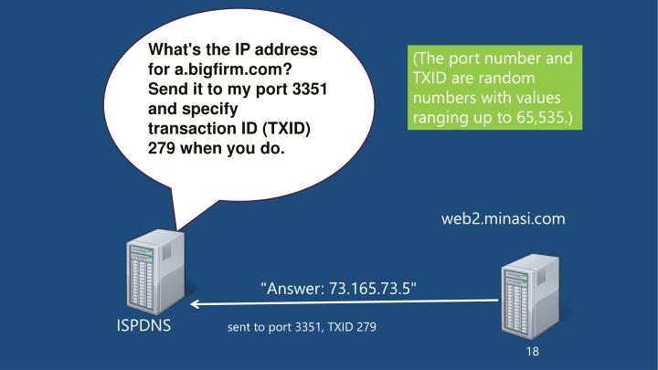 What's the IP address for a.bigfirm.com?  Send it to my port 3351 and specify transaction ID (TXID) 279 when you do.