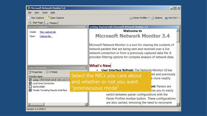 Then, start up Network Monitor and see a screen that looks something like this (without the