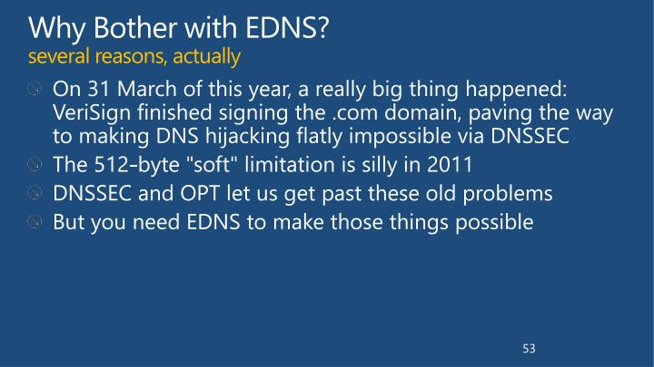 Why Bother with EDNS?