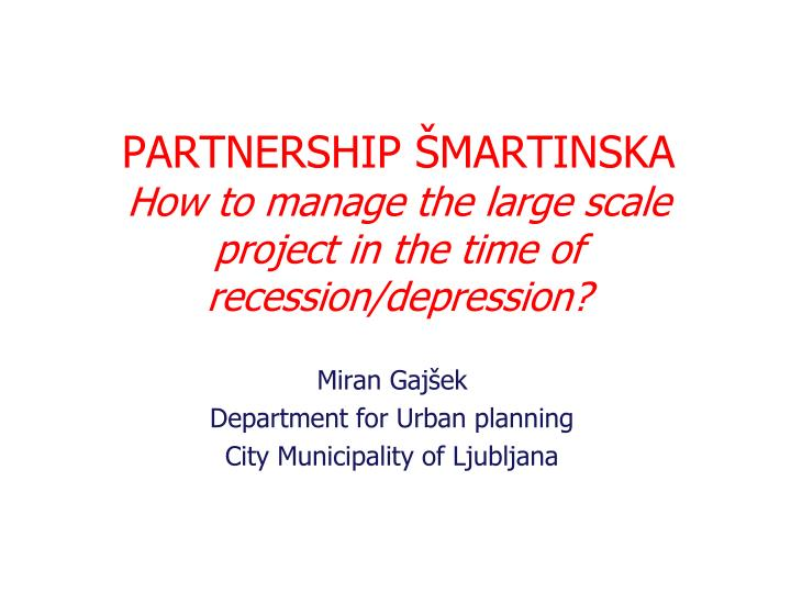 Partnership martinska how to manage the large scale project in the time of recession depres s ion
