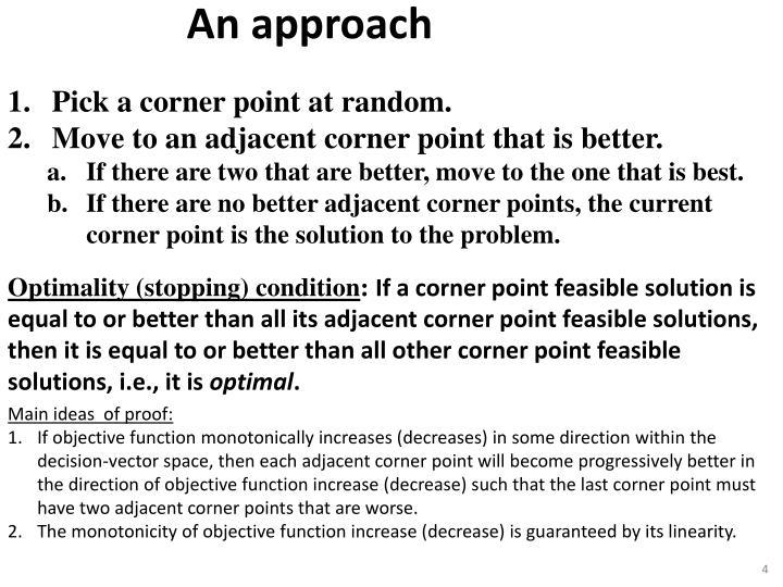 Pick a corner point at random.