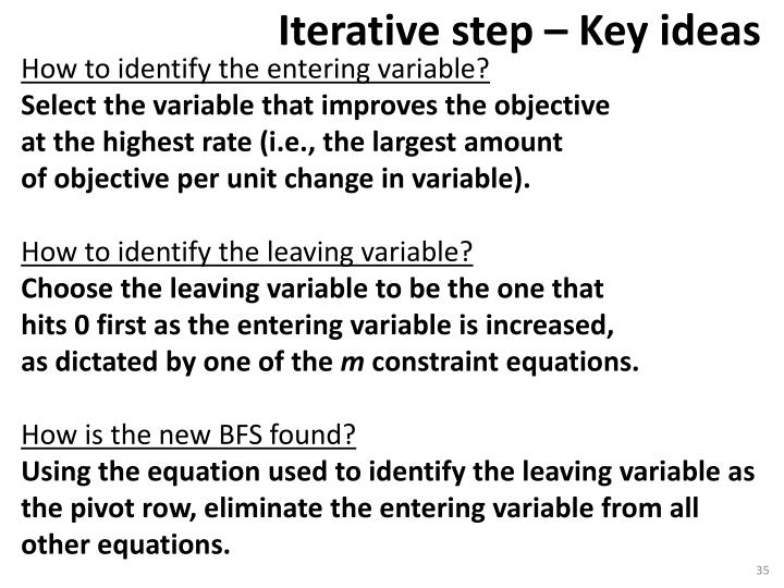How to identify the entering variable?