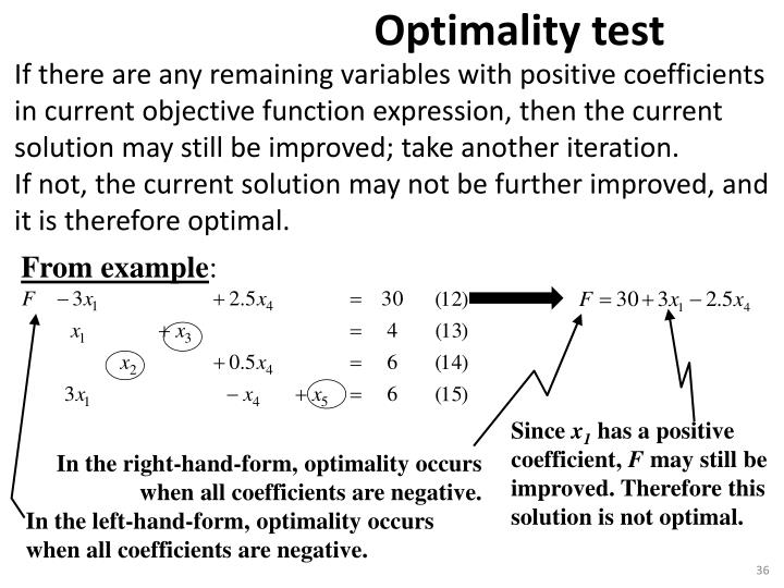 If there are any remaining variables with positive coefficients in current objective function expression, then the current solution may still be improved; take another iteration.