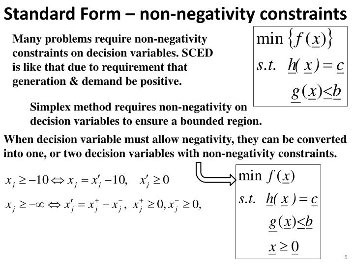 Many problems require non-negativity constraints on decision variables. SCED is like that due to requirement that generation & demand be positive.