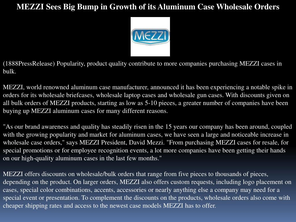 MEZZI Sees Big Bump in Growth of its Aluminum Case Wholesale Orders