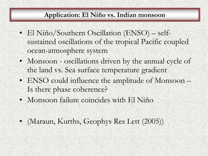 Application: El Niño vs. Indian monsoon