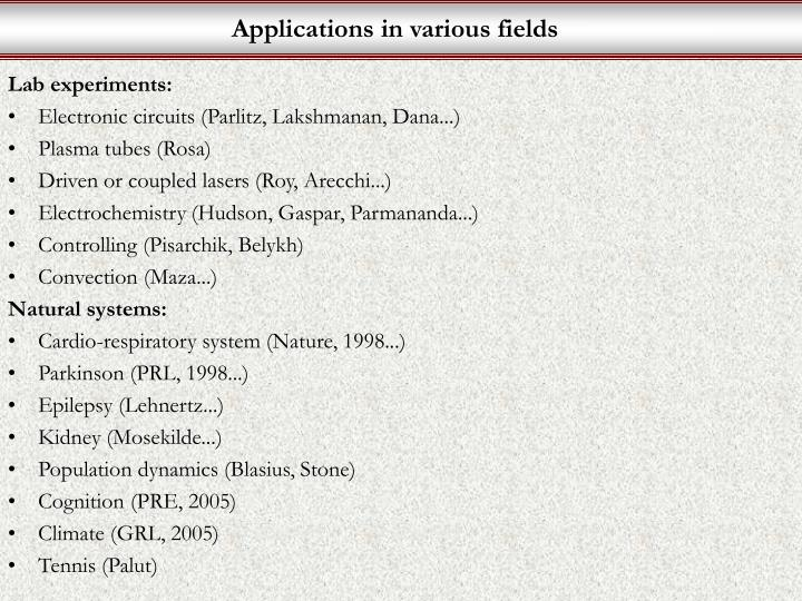 Applications in various fields