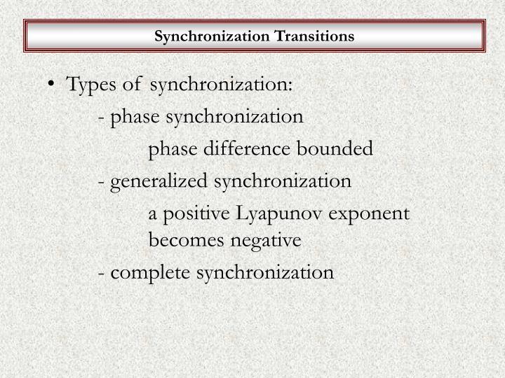 Synchronization Transitions