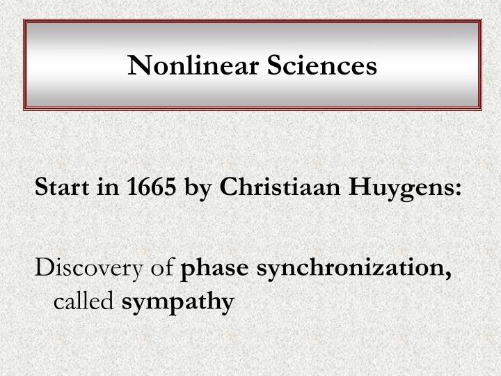 Nonlinear Sciences