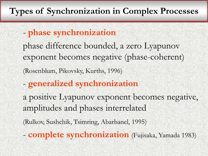 Types of Synchronization in Complex Processes