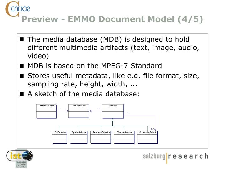 The media database (MDB) is designed to hold different multimedia artifacts (text, image, audio, video)