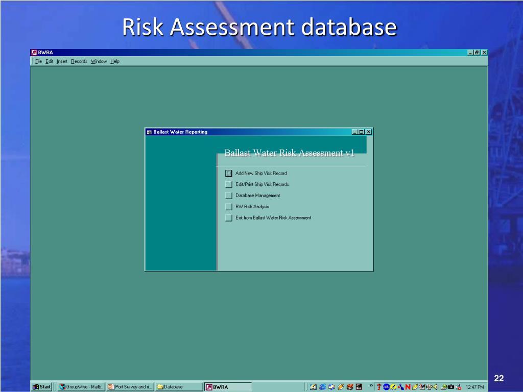 Risk Assessment database