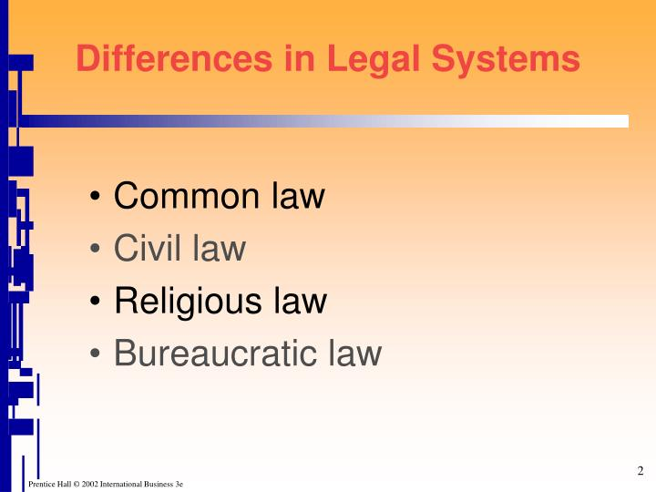 Differences in legal systems