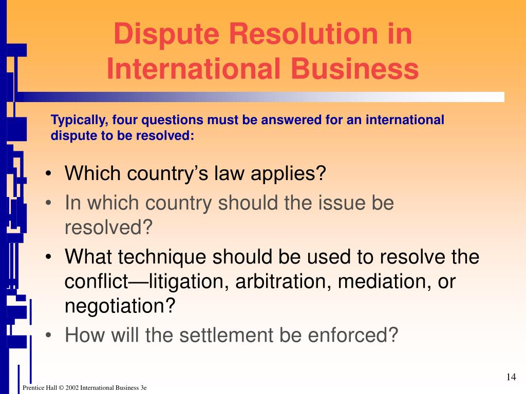 Dispute Resolution in International Business