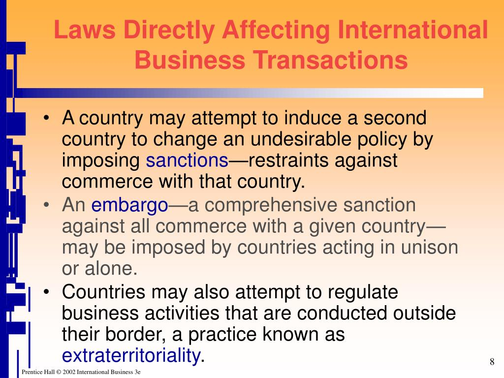 Laws Directly Affecting International Business Transactions