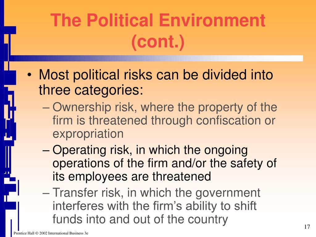 The Political Environment (cont.)