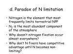 d paradox of n limitation