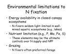 environmental limitations to n fixation