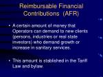 reimbursable financial contributions afr