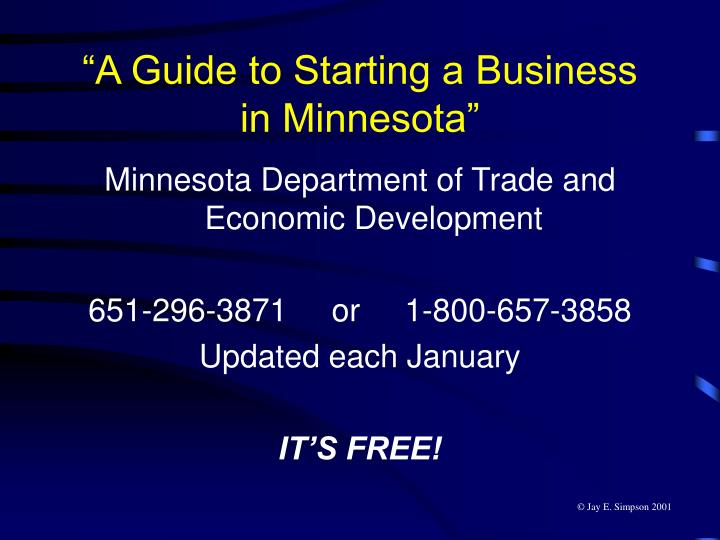 """""""A Guide to Starting a Business in Minnesota"""""""