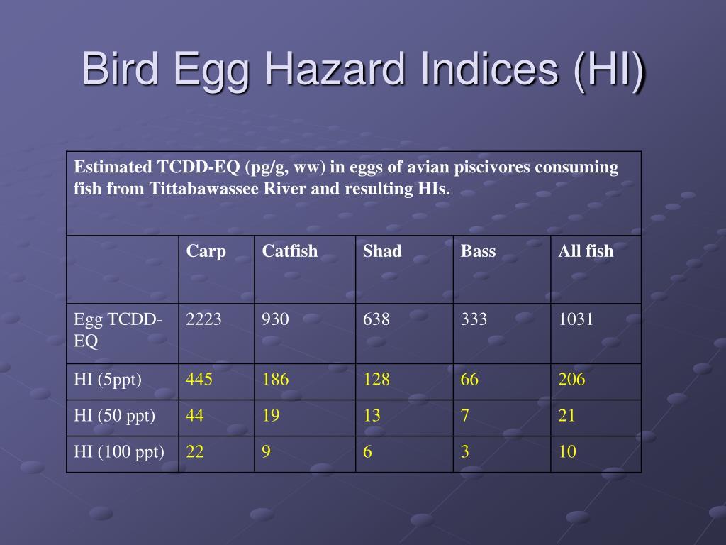 Bird Egg Hazard Indices (HI)