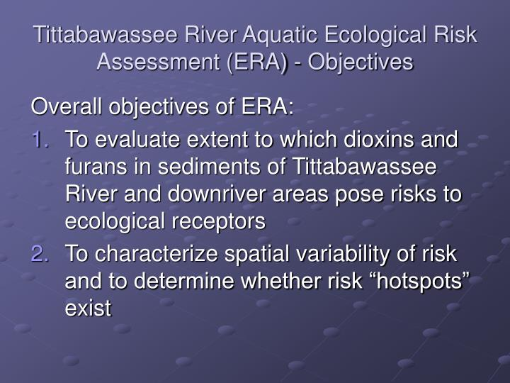 Tittabawassee river aquatic ecological risk assessment era objectives