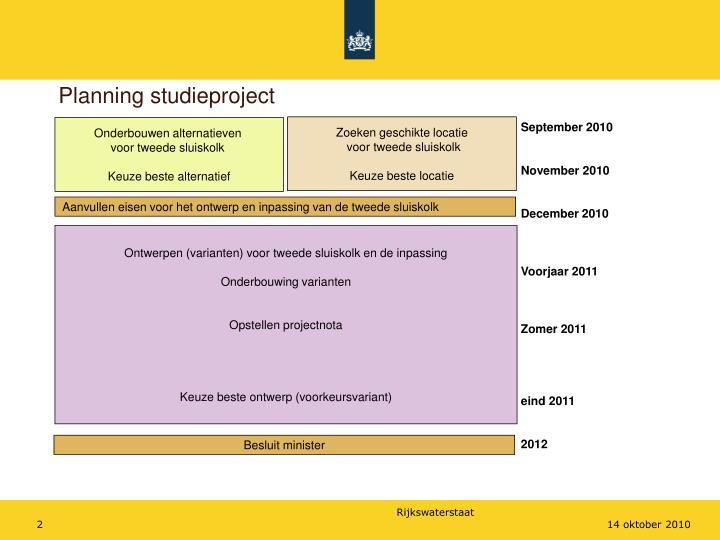 Planning studieproject