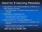 need for e learning metadata