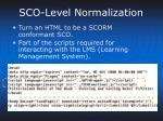sco level normalization