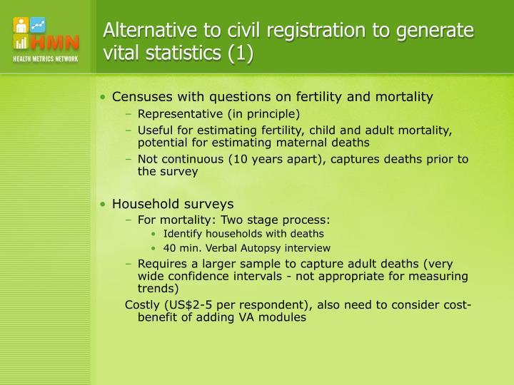 Alternative to civil registration to generate vital statistics (1)