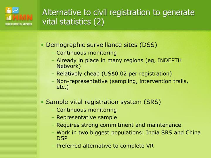 Alternative to civil registration to generate vital statistics (2)