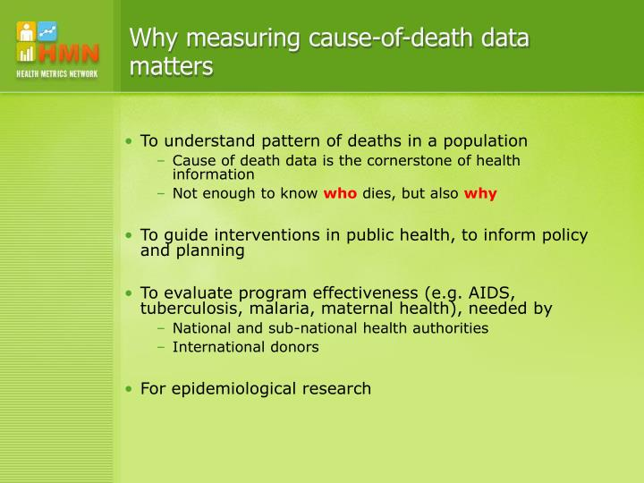 Why measuring cause-of-death data matters
