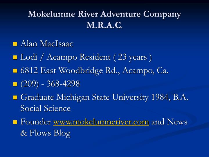 Mokelumne river adventure company m r a c