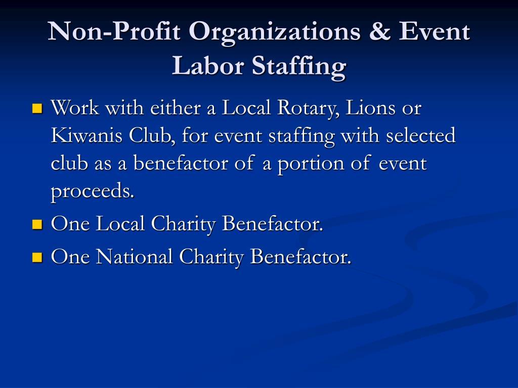 Non-Profit Organizations & Event Labor Staffing