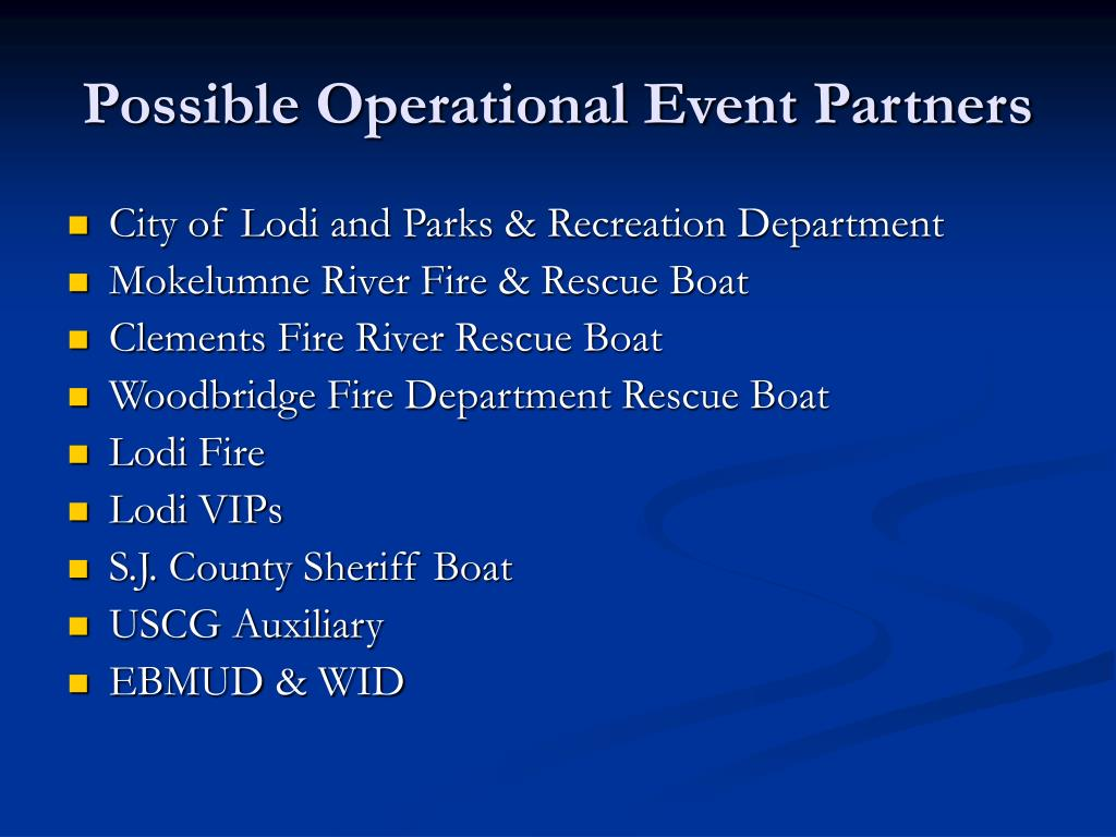 Possible Operational Event Partners