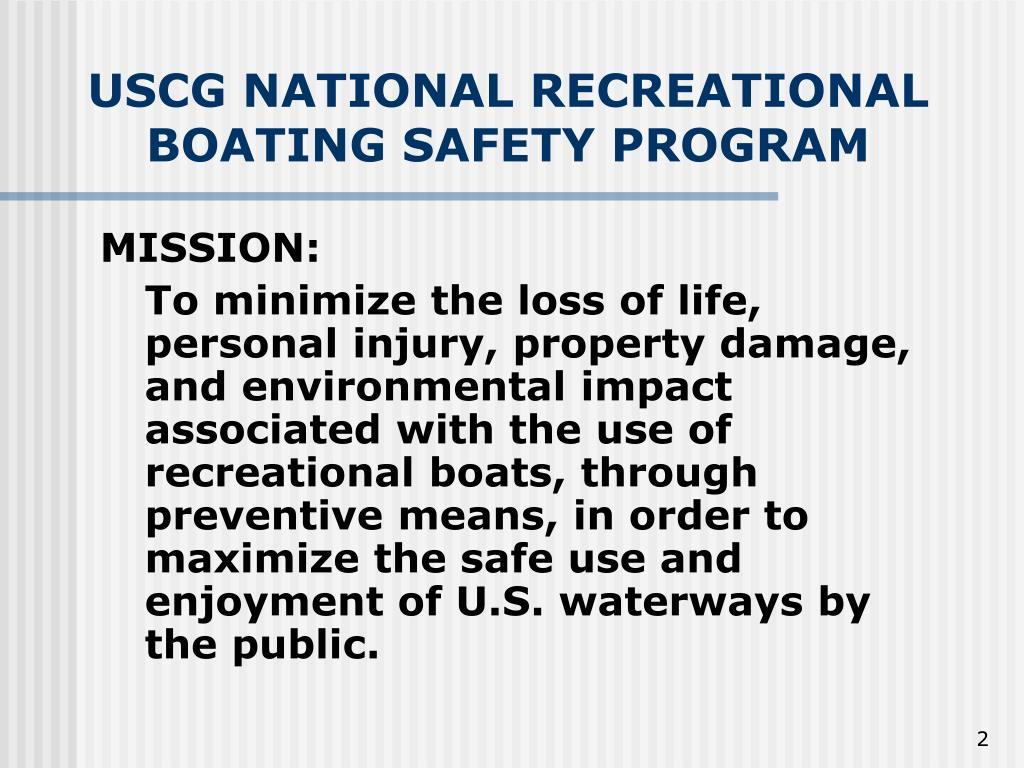 USCG NATIONAL RECREATIONAL BOATING SAFETY PROGRAM