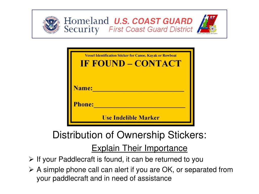 Distribution of Ownership Stickers: