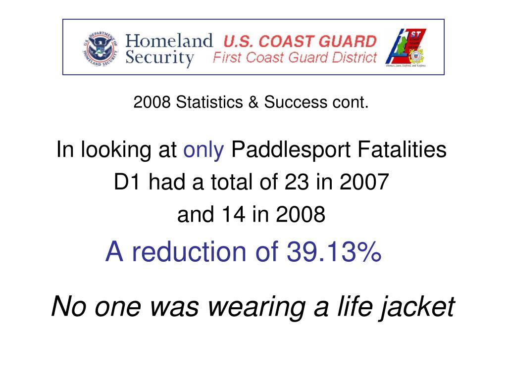 2008 Statistics & Success cont.