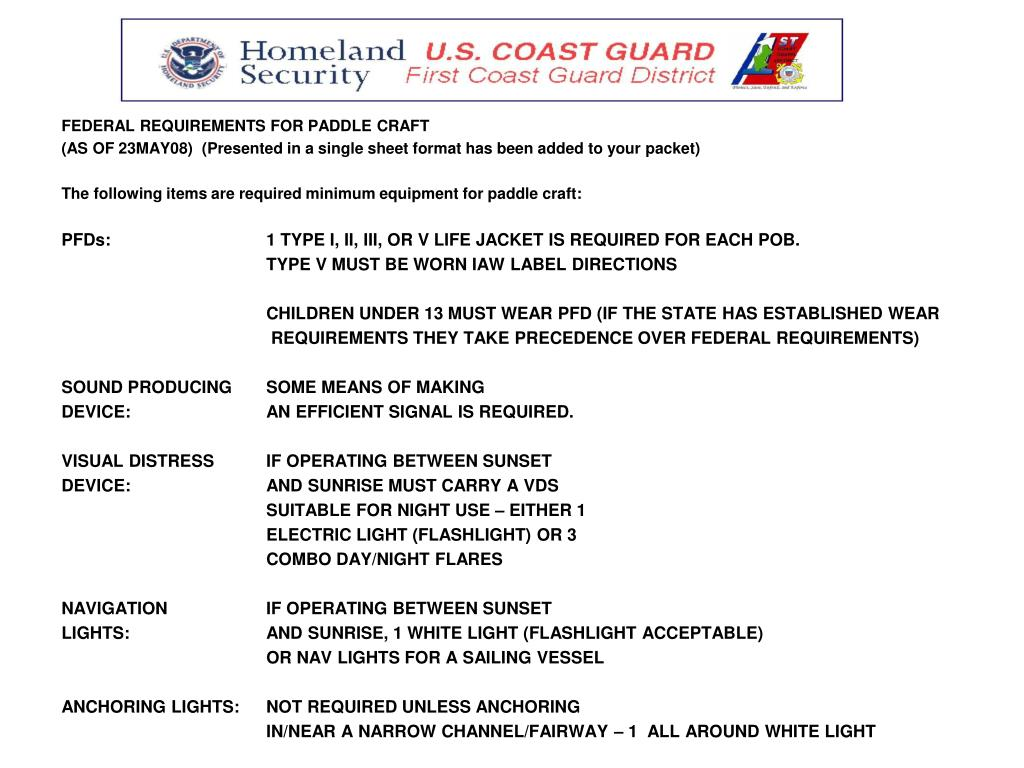FEDERAL REQUIREMENTS FOR PADDLE CRAFT