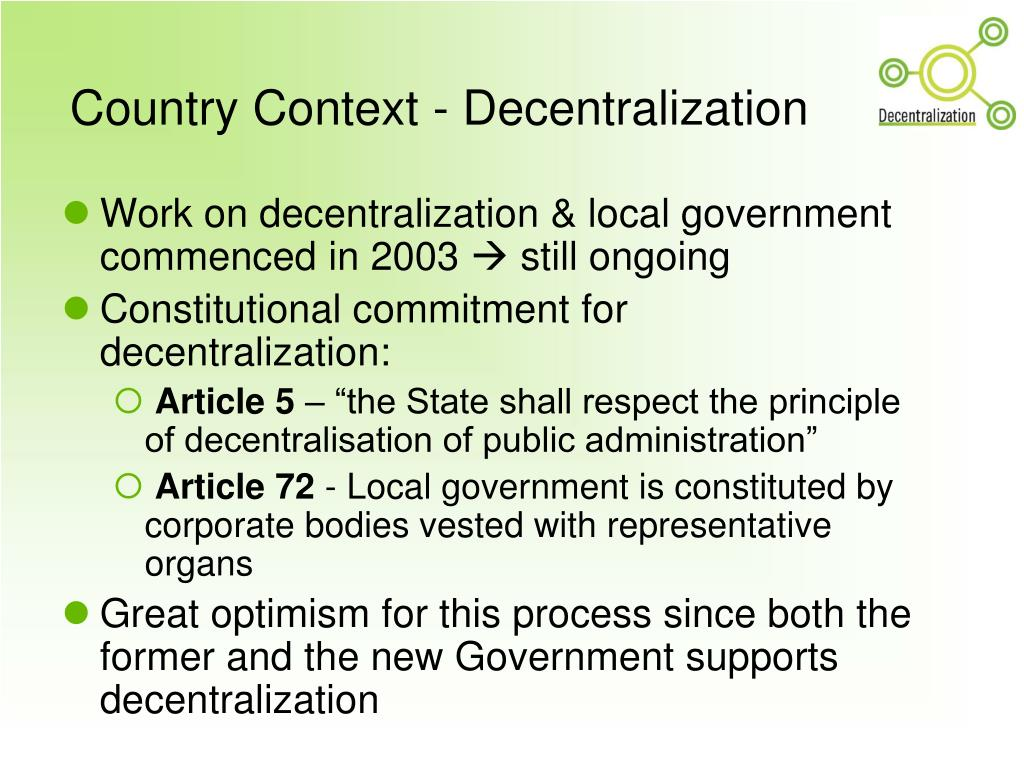 Country Context - Decentralization