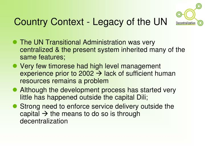 Country context legacy of the un