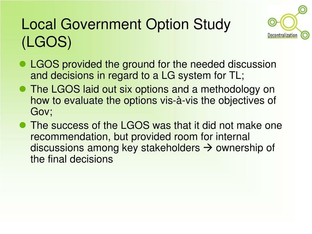 Local Government Option Study (LGOS)
