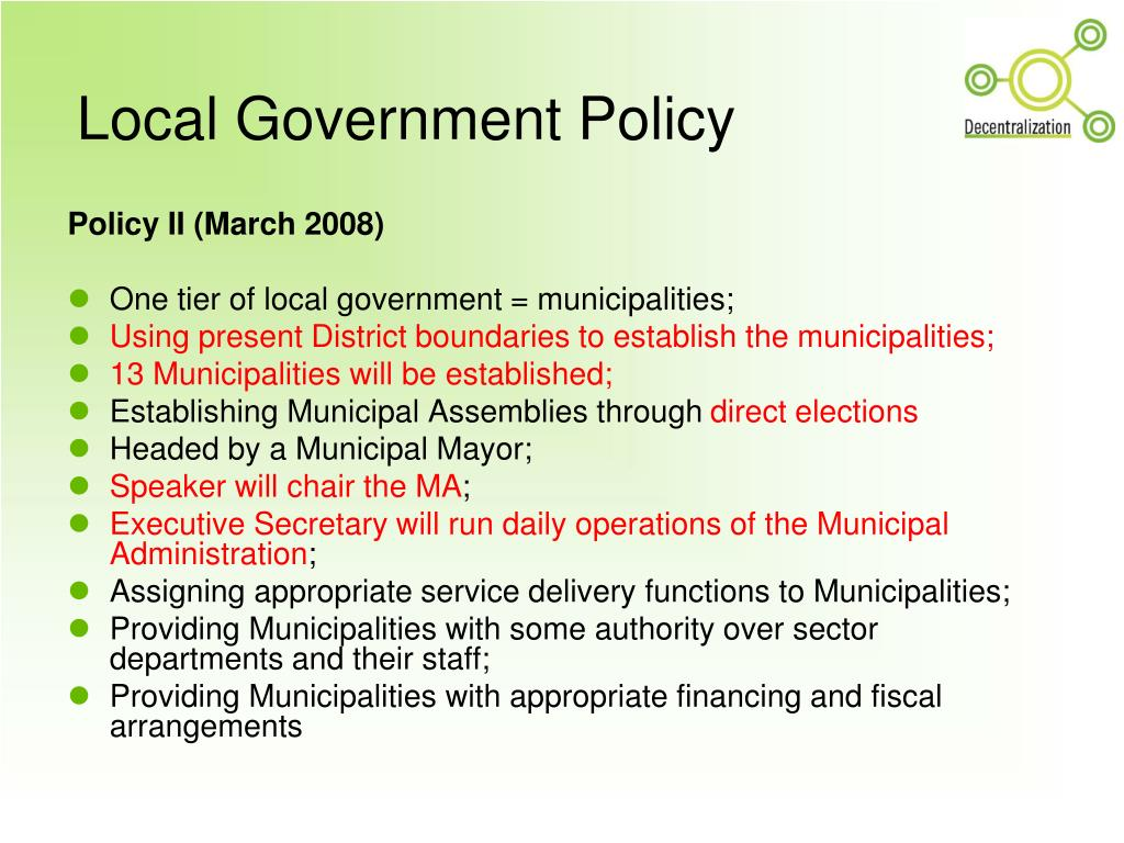 Local Government Policy