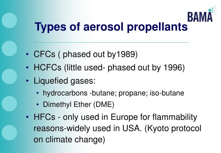 Types of aerosol propellants