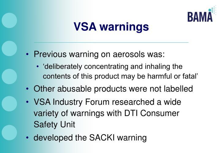 VSA warnings