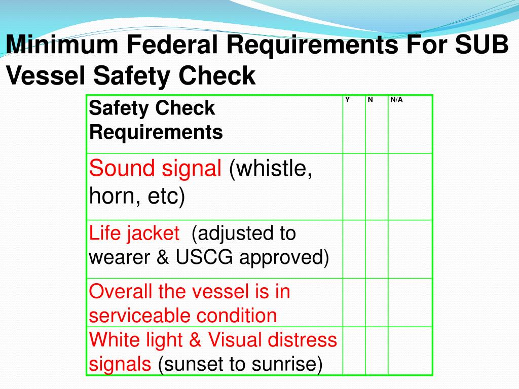Minimum Federal Requirements For SUB Vessel Safety Check