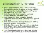 decentralization in tl key steps