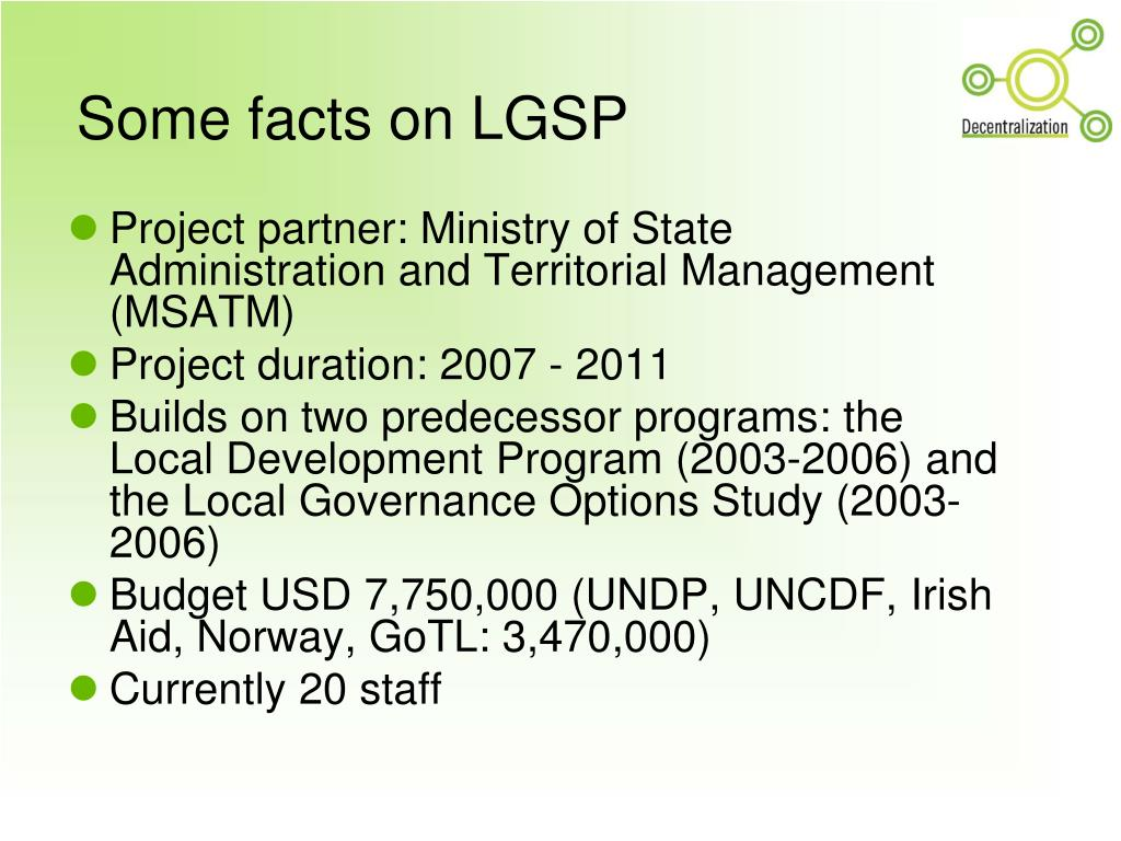 Some facts on LGSP