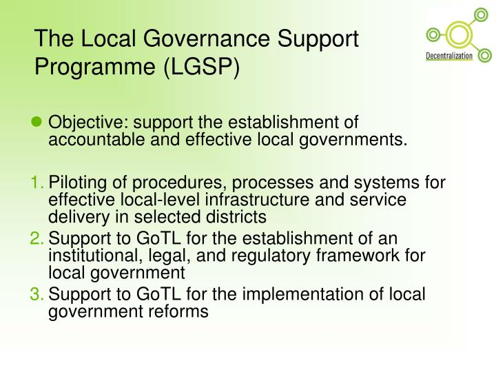 The local governance support programme lgsp