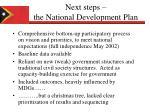 next steps the national development plan